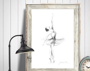Ballerina Print, Ballerina Sketch, Ballerina Drawing, Print Ballet, Ballet Dancer, Print of Dancer, Ballet Art, Ballerina Art, Gift for Her