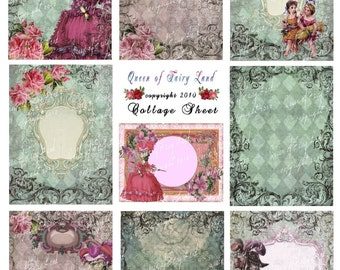 Digital Collage Sheet, Victorian Lady's, cards, tags, Scrapbooking, Vintage Printable, Digital Paper, Marie Antoinette, mixed media, #50