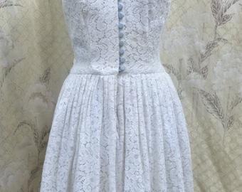 Vintage 1970s White Lace Halter Dress/White Lace Maxi Dress
