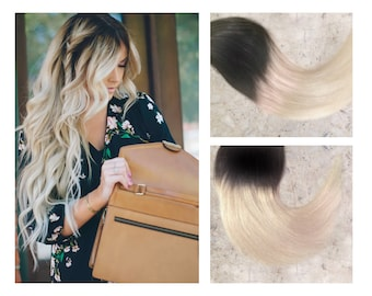 "Full Set Black Ombre Hair Extensions // Blonde Ombre Hair Extensions // Black to Blonde Ombre Remy Clip-In Hair Extensions 18"" - 24"""