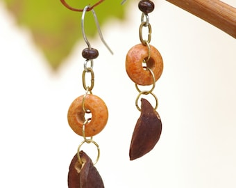 Fall earrings, seed and wooden bead.