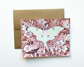 Luna Moth Forest Art Illustration Flat Note Card Stationery Thank You Card with Paper Bag Envelope