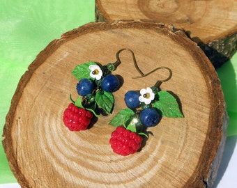 Long Earrings Raspberry Blueberry handmade of polymer clay Cluster Earrings forest berry Drop Earrings wild berries Cute Jewelry berries