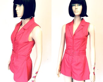 Vtg 80s 90s Pink Romper Button Front Collar Jumpsuit Belted Shorts Sleeveless Playsuit Small