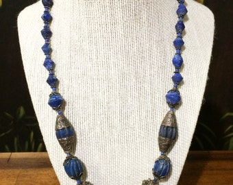 Antique Lapis And Silver Necklace.