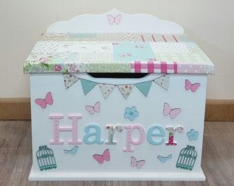 Personalised / custom / bespoke / wooden / toy box / name / theme / standard size toybox / boys / girls / nursery baby / child / toy chest