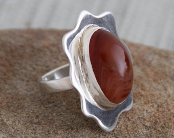 Sterling Silver ring, carnelian agate