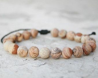 Men Bead Bracelet, Picture Jasper Bracelet, Healing Bracelet, Energy Jewelry, Men Zen Bangle, Men Gift, Couple Gift, unisex, hipster style