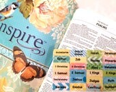 "STANDARD ""Inspire"" Multicolored Books of Bible Tabs with Adhesive, Bible Journaling, English & Spanish Bible"