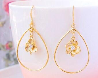 Gold Teardrop Earrings Gold Hoop Earrings CZ Flower Earrings Prom Fashion Jewelry Gift For Her Modern Prom Earrings Hoop Statement Earrings