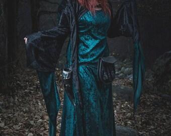 Black Velvet Medieval Dress - READY TO SHIP