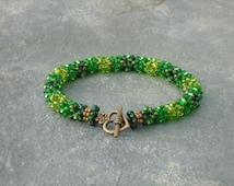 Beaded Rope Bracelet, Summer Oak Woodland, in lime, emerald and green Czech seed beads, UK seller