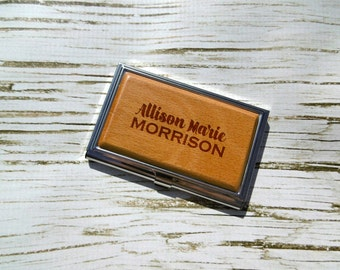 Custom Business Card Holder, Personalized, Laser Engraved, Wooden, New Job, Boss, Gift, Present, Promotion, Graduation, Career, Corporate