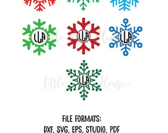Christmas snowflake monogram design files BUNDLE   SVG, dxf, Silhouette Studio, pdf, christmas, holiday, ornament, diy, tag, present, PDF