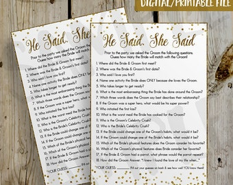 PRINTABLE Gold Glitter Confetti He Said She Said Bridal Shower Game Fill In - DIY Instant Download He Said She Said Game Digital File - 5x7