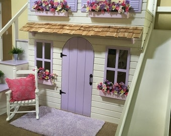 The Ultimate Dollhouse Cottage Loft bed with Step Block Stairs w/ built-in storage and slide!