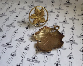 Vineyard in the Yard~Brass Grape Leaves~Brass Trinket Tray~Brass Wine Bottle Trivet~Vintage Wine