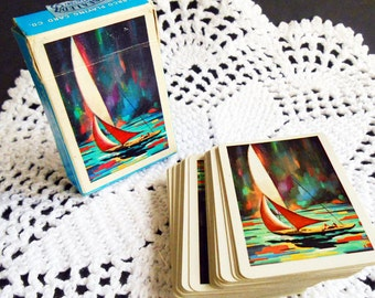Arrco Playing Cards, Junior Playing Cards, Chicago IL, Sailboat Cards,Vintage Poker Cards, Retro, Mid-Century