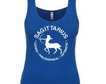 SAGITTARIUS - What's Your Sign? Tank in blue or gray,  sagittarius tank, sagittarius tank, sagittarius tank, sagittarius, zodiac sign