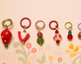 Strawberry Fields Stitch Marker Set