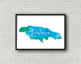 Jamaica Watercolor Map, Jamaica Map, Art Print, Map of Jamaica, Caribbean Art, Travel Gift, Jamaican Art, Tropical Island Wall Art, Poster