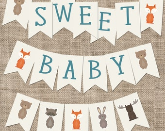 Sweet Baby Baby Shower Banner, Woodland Animal
