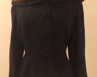RESERVED do not buy!!!!! Vintage 1950s Lilli Ann Blazer with Mink Collar Rare Large Size!