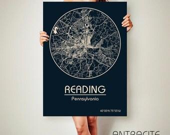 READING Pennsylvania CANVAS Map Reading Pennsylvania Poster City Map Reading Pennsylvania Art Print Reading Pennsylvania