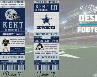 Dallas Cowboys Birthday Invitation, Football, Ticket Invitation, Sport,Birthday, Digital, Invite Printable 300 dpi JPG