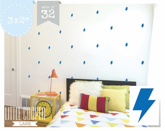 Lightning Bolt 3 x 2 inch Wall Decal Vinyl Sticker for Boys or Girls Set of 32_For Nursery OR Kids Room_7.5x5cm_ID#1308