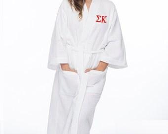 Sigma Kappa Waffle Weave Bath Robe, SK Waffle Weave Robe, Sorority Letter Bath Robe, Sigma Kappa Spa Robe