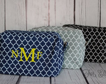 NAVY Quatrefoil Cosmetic Bag - Personalized or Monogrammed