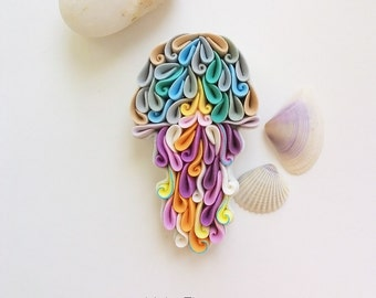 Jellyfish brooch, multicolor jellyfish brooch, polymer clay jellyfish, quilled jellyfish brooch, multicolor brooch, sea animal jewelry,