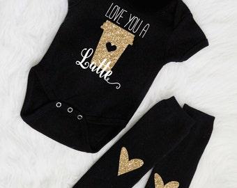 Free shipping Love you a latte baby onesie, custom baby onesie, baby gift