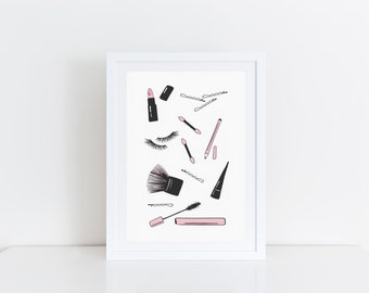 Fashion Illustration Makeup Print Girly Decor Gift For Her Pink and Black Wall Art Makeup Illustration Print Beauty Art Print