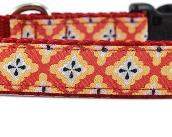 Diamond Dog Leash, orange dog leash, cool dog leash, geometric dog leash, unique dog leash, designer dog leash