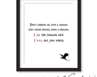 I am the Dragon and I Will Eat You Whole Digital Art Print 16 x 20