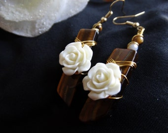 Gold and Tiger's Eye Rose Earrings