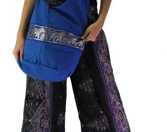 shoulder bag elephant bag cross body bag hippie bag in blue