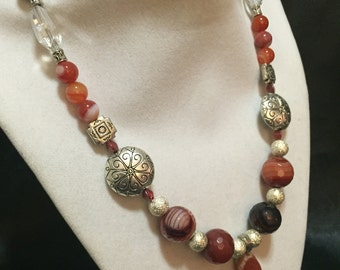 Red Agate Geode Pendant Necklace