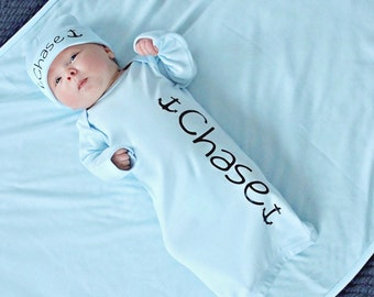 Newborn boy name gown.nautical anchor boy bodysuit.newborn boy blue.baby boy take home outfit.newborn boy hospital outfit..hat sold separate