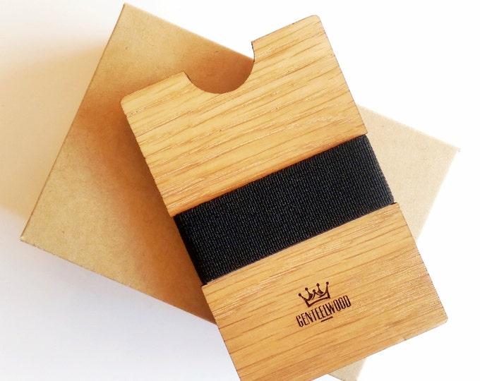 Oak Handmade Wood Wallet - Slim wooden wallet - credit card wallet - GenteelWood wallet - Minimalistic wallet - Valentines gift