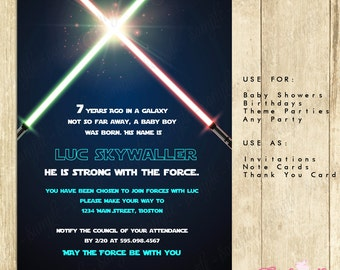 Star Wars Invitation Blue -INSTANT DOWNLOAD Editable File you can personalize with Adobe Reader - great for children, adult parties 0101-BG