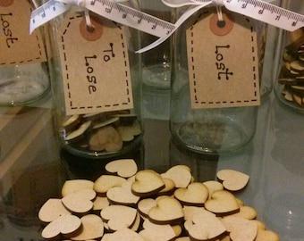 Weight Loss Slimming diet motivation glass reward jars with wooden hearts weight watchers slimming world