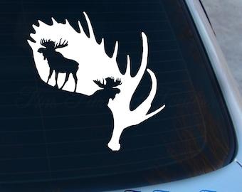 Moose Decal - Moose Antlers Sticker - Hunting Decal - Deer Decal - Laptop - Macbook - Car Decal