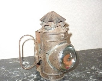 lamp Lantern train RIPPINGILLES hand-held metal curved optical glass year 1918