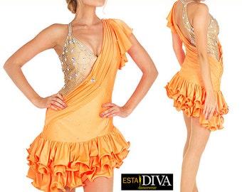 Latin Samba Dress - Albicocca - Latin dress, Latin ballroom dress, Latin dance outfit, Latin dance costume