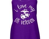 I Love My Veteran Day Tank. Army Marines Air Force Coast Guard. Military America Hero Soldier Airman EGA Coastie. Milso spouse OIF OEF
