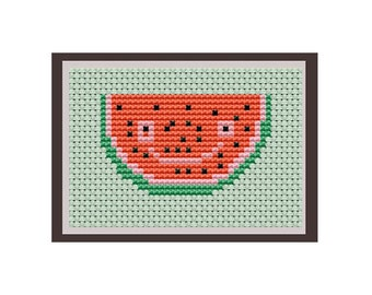 Happy Watermelon Cross Stitch Pattern. Counted Pattern. PDF Instant Download.