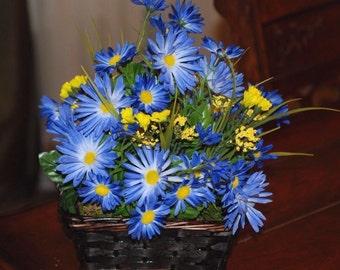 Blue Daisies In Handled Basket